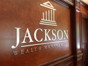 Custom Lobby Sign for Jackson Wealth Management